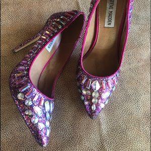 Steve Madden glitter jewel heels